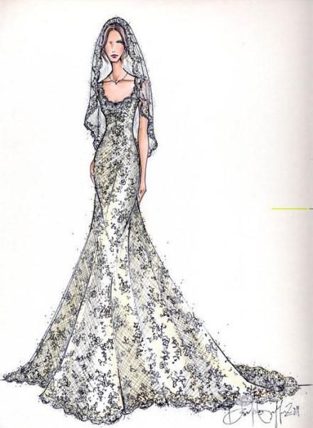 婚纱设计手稿素描图,分享婚纱设计图